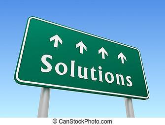solutions, panneaux signalisations, concept, illustration