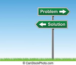 solutions., problemer, vej underskriv