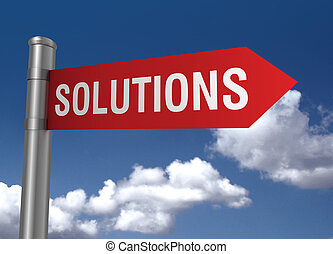 solutions road sign 3d illustration