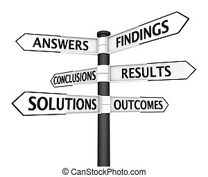 Solutions Signpost - Crossroads sign with solutions related ...