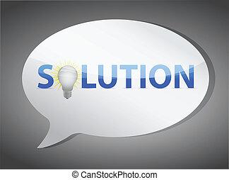 solutions speech bubble illustration design over white
