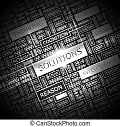 SOLUTIONS. Word cloud concept illustration. Wordcloud collage.