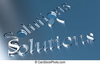 solutions word over a blue metallic background