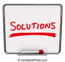 Solutions Word Written Dry Erase Board - The word Solutions...