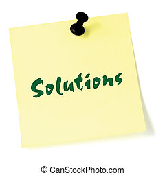 Solutions, written on a sticky adhesive note, isolated yellow