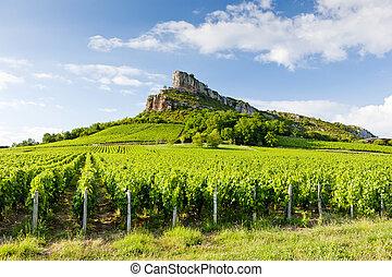 Solutre Rock, Burgundy, France - Solutre Rock with...