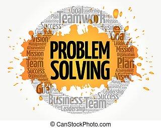 soluzione problemi, cerchio, parola, nuvola