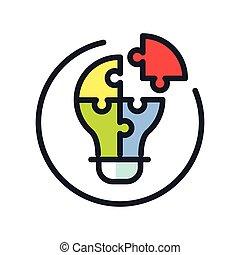 soluzione problemi, icona, colorare
