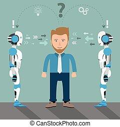 soluzione, robot, 2, uomo affari, problema, cartone animato