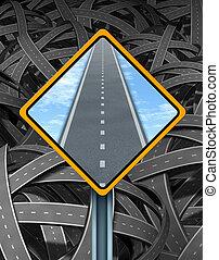 soluzione, segnale stradale