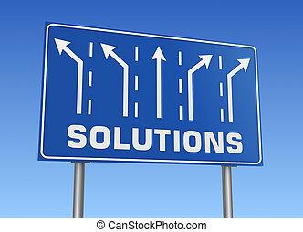 soluzioni, segno strada, 3d, illustrazione