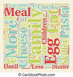 Solve the Dinner Dilemma text background wordcloud concept