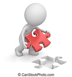 The dude putting puzzle piece in place. Red.