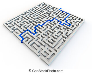 Solved maze with blue arrow