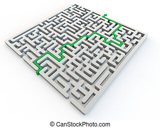 Solved maze with green arrow