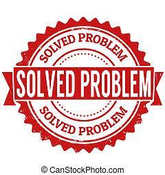 Solved problem grunge rubber stamp on white, vector illustration