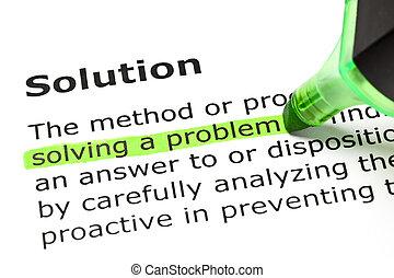 'solving, a, problem', 下に, 'solution'