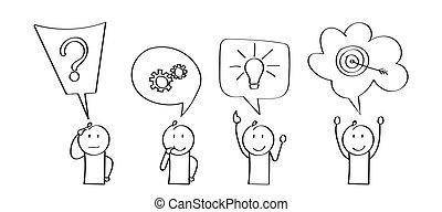 solving., avvio, affari, character., realizzazione, problema, palcoscenici, cartone animato