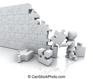 Solving jigsaw puzzle - 3D render of a man solving a jigsaw...