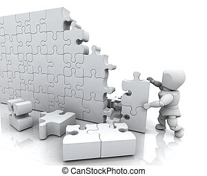 Solving jigsaw puzzle - 3D render of a man solving a jigsaw...