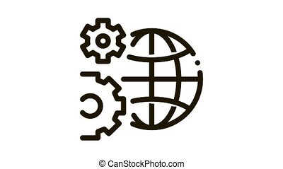 solving planet problems Icon Animation. black solving planet problems animated icon on white background