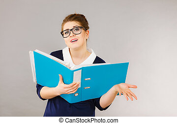 Confused business woman thinking about problem solution