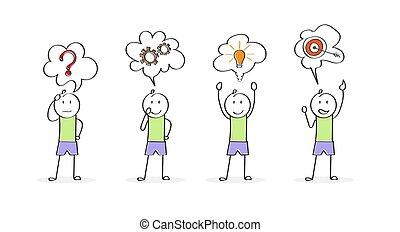 solving., startup, firma, character., gennemførelsen, problem, stages, cartoon