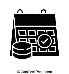 Solving task black icon, concept illustration, vector flat symbol, glyph sign.