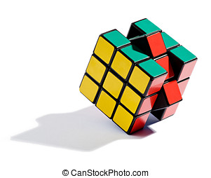Solving the Rubiks cube puzzle with the final coloured...