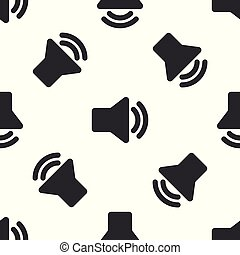 som, áudio, mídia, -, isolado, ilustração, cinzento, volume, experiência., vetorial, orador, seamless, padrão, símbolo música, voz, branca, ícone