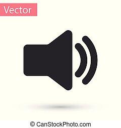 som, áudio, mídia, -, isolado, ilustração, cinzento, volume, experiência., vetorial, orador, símbolo música, voz, branca, ícone