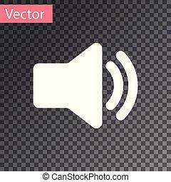 som, áudio, mídia, -, isolado, ilustração, símbolo, volume, experiência., vetorial, orador, música, branca, voz, transparente, ícone