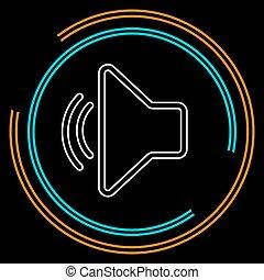 som, áudio, mídia, -, símbolo, volume, orador, música, voz, ícone
