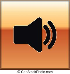 som, áudio, ouro, mídia, -, isolado, ilustração, símbolo, volume, experiência., vetorial, música, orador, voz, ícone, pretas