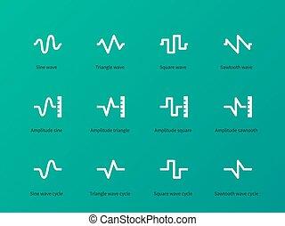 som, ícones, onda, experiência., verde, tipos, ciclo