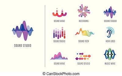 som, ícones, onda, símbolo, cobrança, producao, desenho, logotipo, música