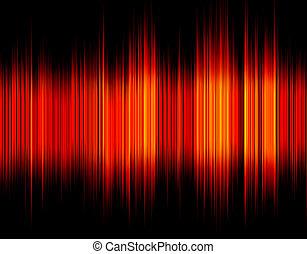 som, abstratos, wave., vermelho, digital