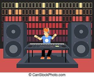 som, apartamento, desenho, conceito, fundo, equalizador, músico, personagem, modernos, pulso, jogador, synthesizer, vetorial, música, ilustração, modelo, ondas, elegante, áudio, ícone