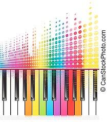 som, arco íris, lines.vector, teclas, ondas, piano