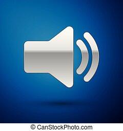 som, azul, áudio, mídia, -, isolado, ilustração, símbolo, volume, experiência., vetorial, orador, música, voz, prata, ícone