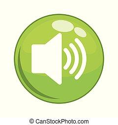 som, botão, orador, ícone