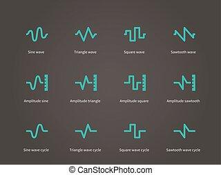 som, compressão, ícones, set., voice., música, tipos