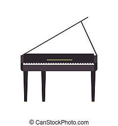 som, concerto, clássico, isolado, ilustração, musical, tecla, instrumento, vetorial, música, fundo, grandioso, pretas, branca, icon., piano