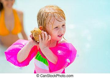 som, concha, mar, inflável, escutar, menina bebê, braçadeira