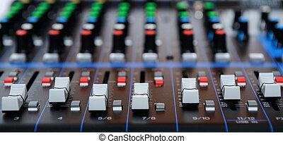 som, controle, música, misturador, painel