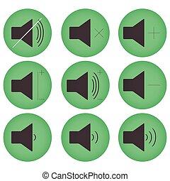 som, controles, botão, jogo, apartamento, redondo