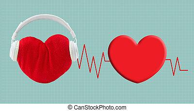 som, coração, conceito, escutar, cuidados de saúde