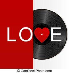 som, coração, palavra, realístico, love., isolado, etiqueta, registro, portador, pretas, vinil, fundo, branco vermelho, retro