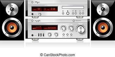 som, detalhado, estéreo, vetorial, música, componentes, áudio, prateleira