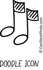 som, doodle, multimedia, botão, nota, vetorial, desenho, icon., musical, element.